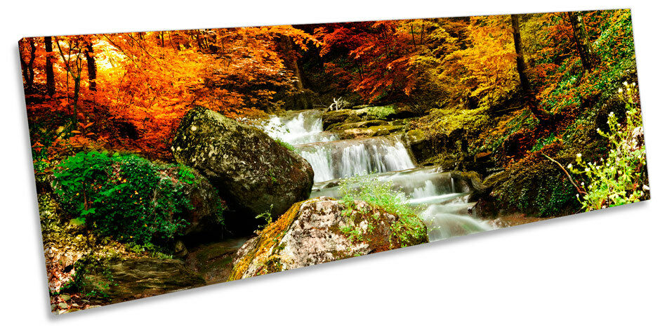 Autumn Forest Landscape River Waterfall CANVAS WALL ART Panoramic Framed Framed Framed Print 9ff36b