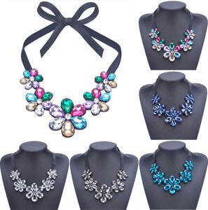 Fashion-Women-Bib-Flower-Crystal-Pendant-Chain-Statement-Chunky-Choker-Necklace