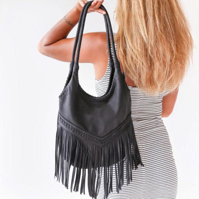 Genuine Leather Hobo Shoulder Bag Womens Black Purse Tassel Fringe Handbag