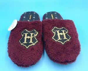 """WIZARDING WORLD Harry Potter HOGWARTS """"H"""" MAROON SLIPPERS SIZE: L/XL  NWT"""