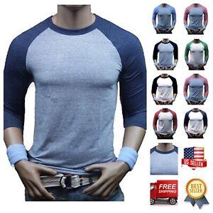 Men-3-4-Sleeve-Baseball-T-Shirt-Tri-Blend-Casual-Slim-Fit-Crew-Neck-Hipster-Gym