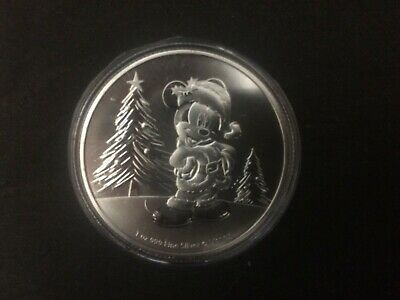 ONLY 15,000 2019 Niue 1 oz Silver $2 Disney Mickey Mouse Christmas in Capsule