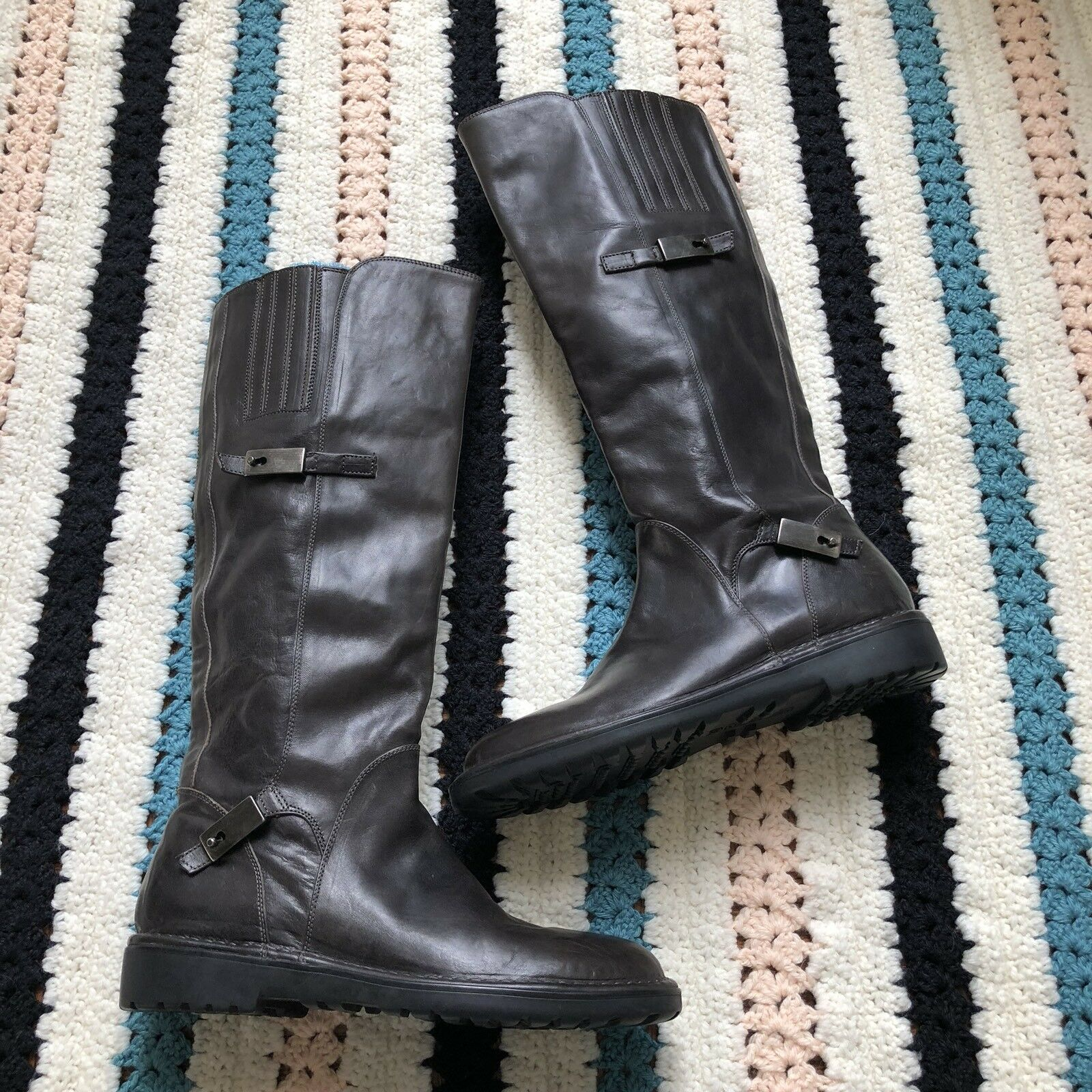 $625 NEW Alberto Fermani Sz 39 Knee High Distressed Leather Boots Anthracite