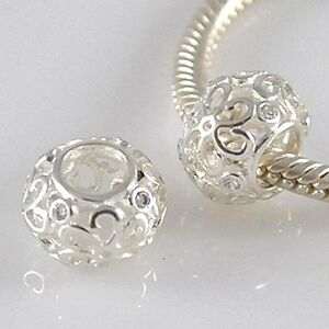 FILIGREE-FLOWER-Daisy-Openwork-CZ-Solid-925-sterling-silver-European-charm-bead