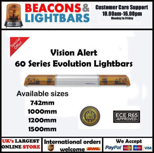 603.3A2 Vision Alert 1000mm 2 Rotators Illuminated Centre 24v Amber lightbar PN