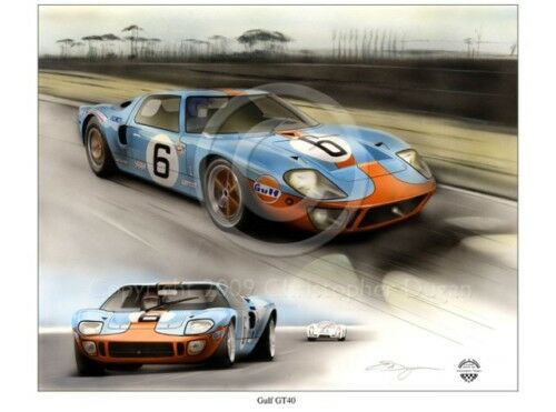 GULF FORD GT40 24 HEURES HOURS DU LE MANS 1969 JACKY ICKX J W AUOTIVE PRINT