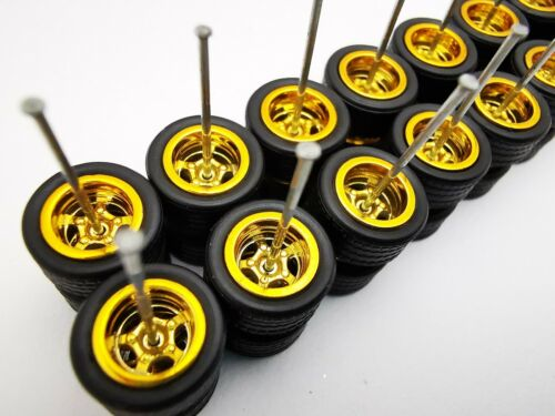 20 set 5 spoke GOLD Premium rubber wheels for HW 1:64 scale cars and other