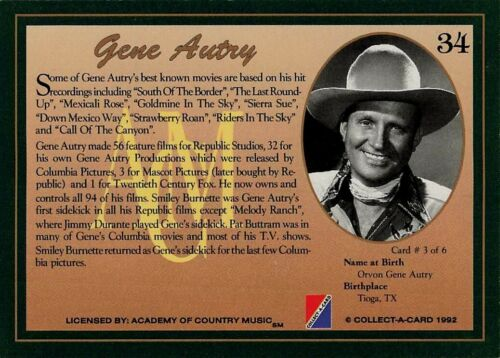 Details about  /1992 Collect-A-Card Country Classics Gene Autry #34