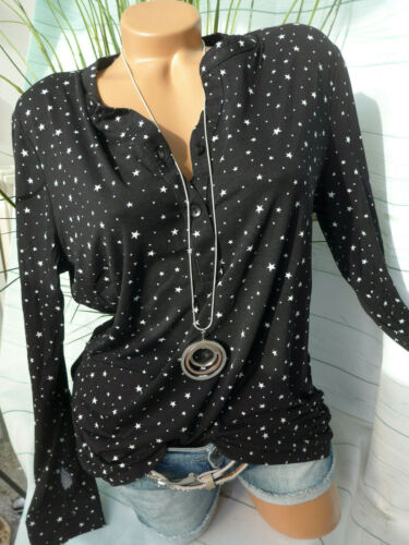 NEU 150 Cheer Shirt Damen Gr 34 bis 48 Langarm schwarz mit Sternen