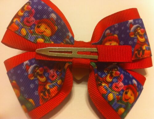 "Girls Hair Bow 4/"" Wide Winnie the Pooh Christmas Red Ribbon Alligator Clip"