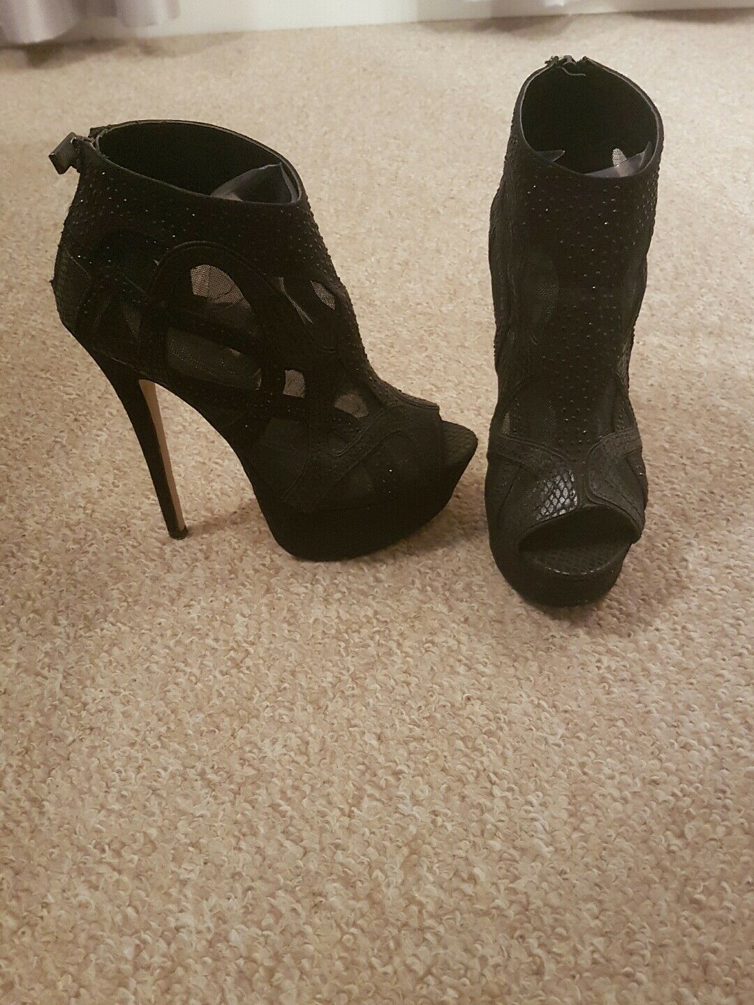 Black River Island platform party shoe boots with diamante and mesh detail UK 3