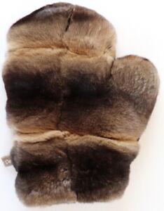 Chinchilla Fur Glove Rex Double Sided Fur Wellness Massage Soft Nougat Braun