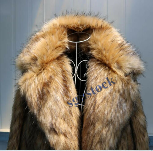 Winter Mens Fur Overcoat Occident Mink Loose Sleeve Outwear Coat Jacket Casual
