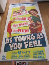 AS YOUNG AS YOU FEEL Original 1951 3 sheet poster Marilyn Monroe LINEN BACKED