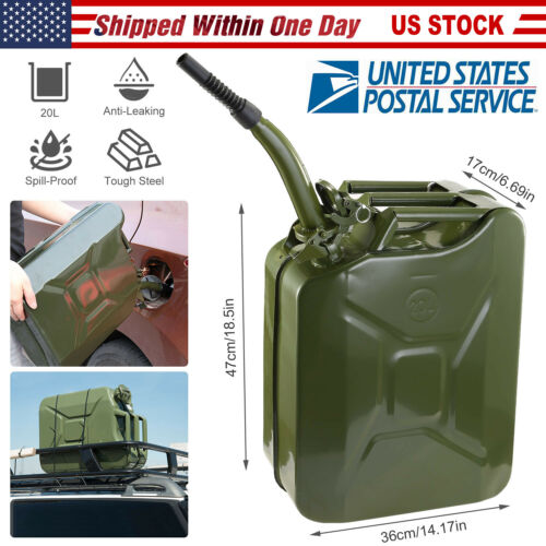 Jerry Can 5Gallon 20L Gas Can Gasoline Fuel Can Heavy Duty Steel Tank Army Green