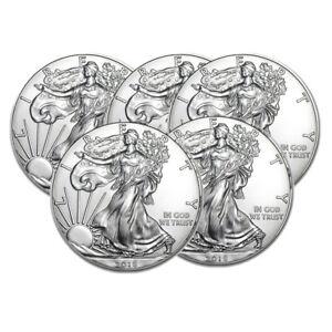 Lot of 5 Silver 2018 American Eagle 1 oz. Coins .999 fine silver US Eagles 1oz