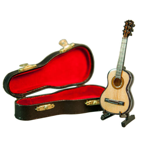 Sky Mini Guitar Classic Natural Finish Acoustic Miniature Guitar with Stand