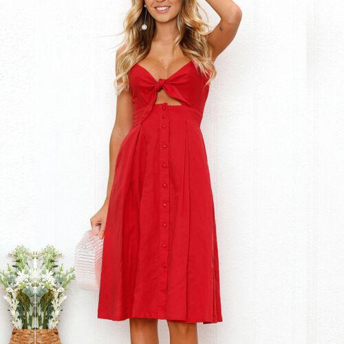 Damen Sommer Maxi Kleider Party Cocktailkleid Hochzeit Minikleid Strandkleid Rot
