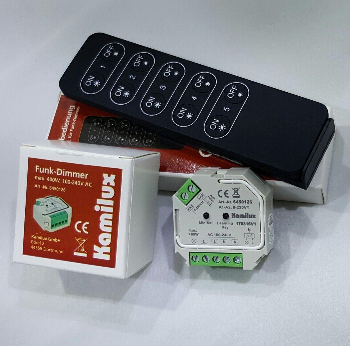 Tast Dimmer Elmo 230V-LED max. 400 Watt Dimm funkfernbedinung inkl. Knopfzelle