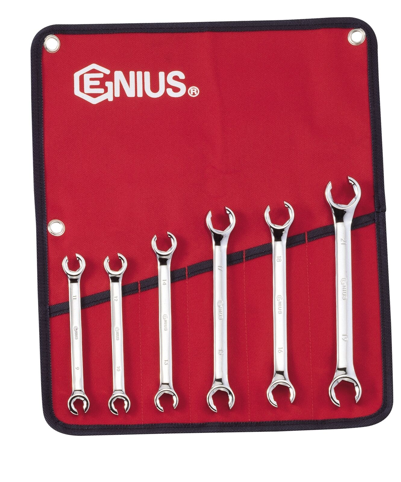 Genius Tools 6PC Metric Flare Nut Wrench Set - FN-006M