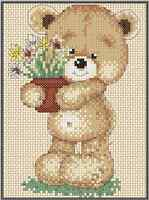 Counted Cross Stitch Terry Bear candy - Complete Kit 5-4 Kit (large Print)