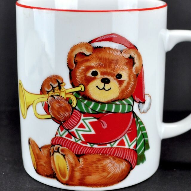 Christmas Teddy Bear Trumpet Vintage Coffee Mug Japan Porcelain Tea Cup Cut