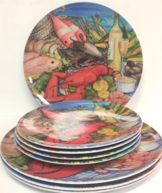 Lot de 8 Santa Barbara Design, Homard Crabe Vin de fruits de mer Mélamine plaques 8  10