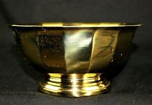 GORHAM Heavy Solid Brass Planter Bowl Flower Pot Ikebana Floral Container 8 In