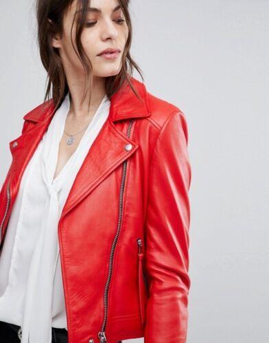 Size Fit Red S New M Motorcycle Jacket Women Slim Xl Lambskin L Biker Leather 4XqzF