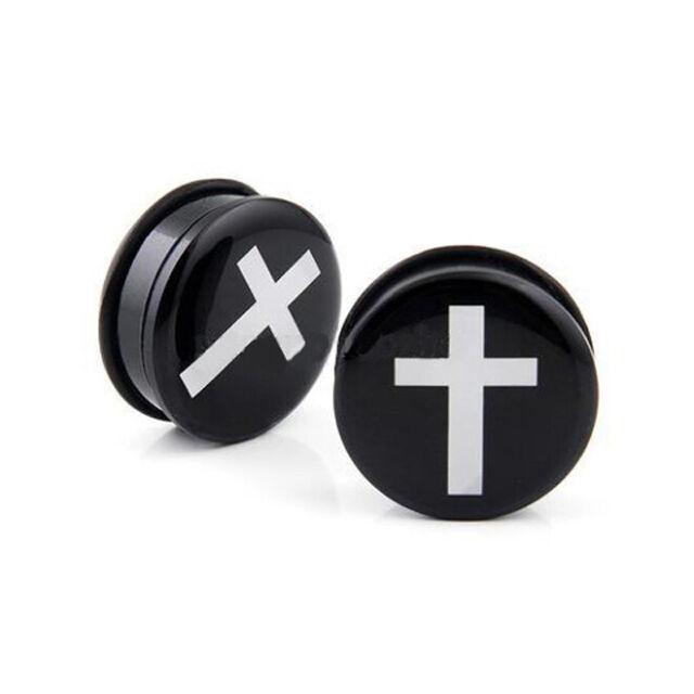 Stärke 4-16mm Ohr Piercing 2 in 1 SET Dehner und Flesh Tunnel Acryl in schwarz