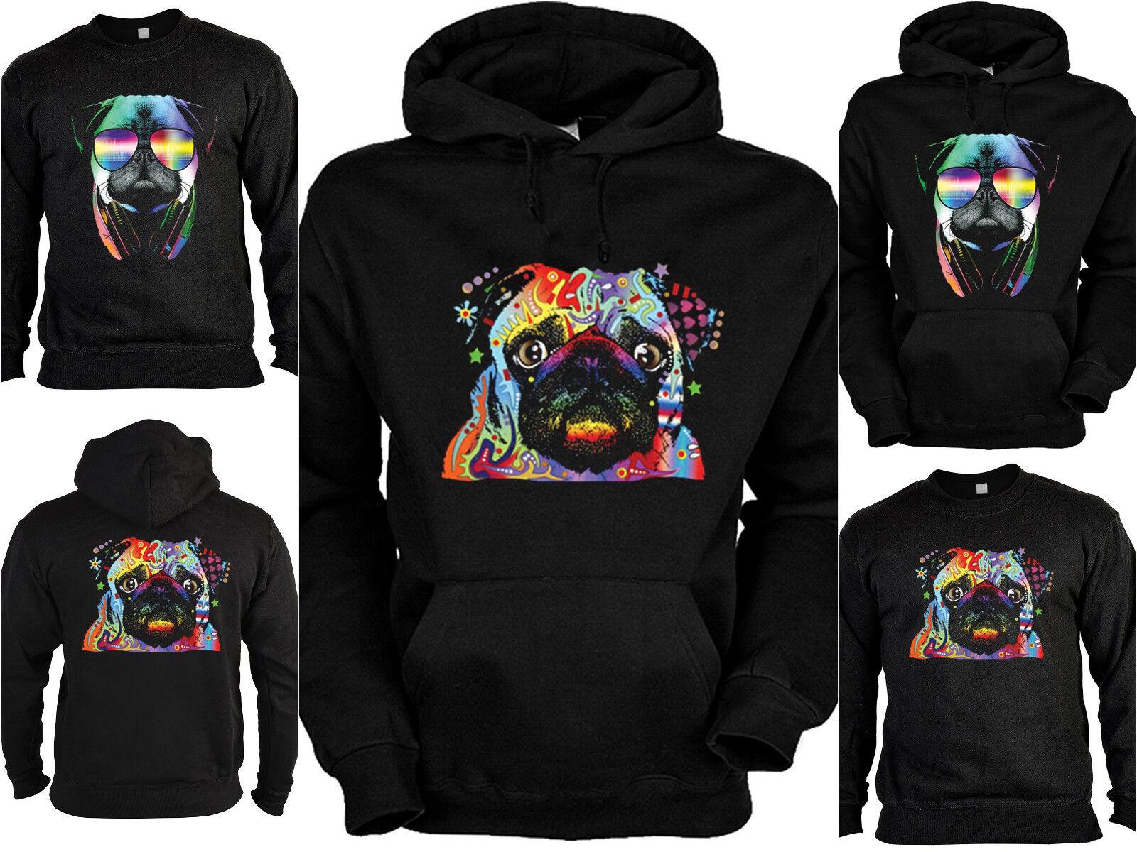 Mops Pug Sweater - Kapuzensweater - Zip Hoodie Hunderassen Hunde Motiv Mops Neon