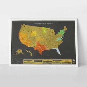 Details zu Scratch Off Map USA Deluxe Edition Large Travel Scratch Off Wall  Map Poster