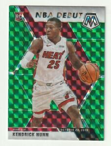 2019-20-Panini-Mosaic-Prizm-Green-Kendrick-Nunn-NBA-Debut-RC-SP-268-Miami-Heat
