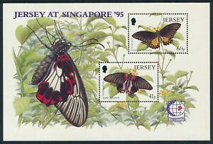 Jersey-1995-Singapur-039-95-Briefmarke-Ausst-Schmetterlinge-Blatt-MNH-Sg
