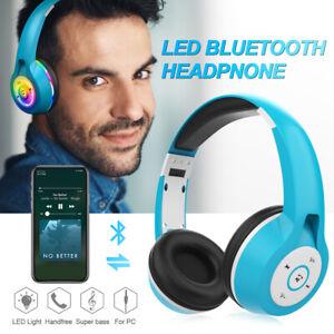 3.5mm Pliable Stéréo sans fil Casque Bluetooth LED Sport Gym pour iPhone Samsung