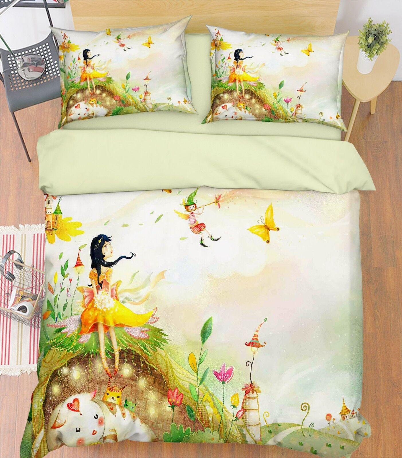 3D Girl Grass Paint 9 Bed Pillowcases Quilt Duvet Cover Set Single Queen King CA