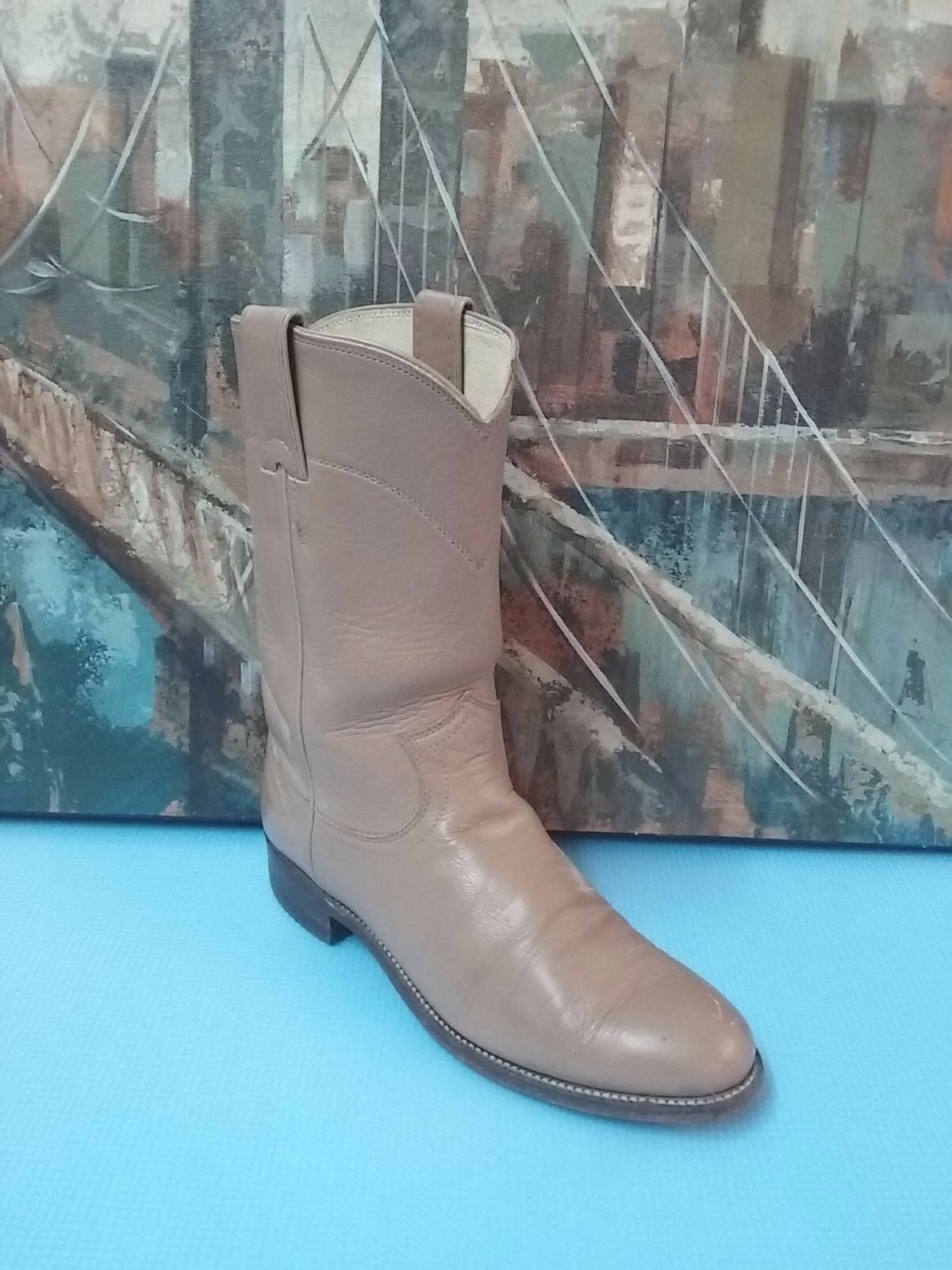 Justin Womens Original Beige Brown Leather Western Cowboy Boots Size 6 B