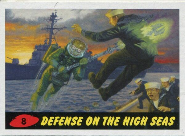 Base Card #8 Rebuilding the Robot Army 99 Mars Attacks The Revenge Red