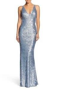 DRESS-the-POPULATION-Ice-Blue-Sequin-V-Neck-Harper-Stretch-Mermaid-Gown-L