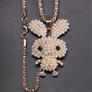 Rabbit-Shaped-Peal-Crystal-Necklace-Fashion-Jewelry-Sweater-Chain-Pendant