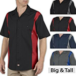 Big and tall men 39 s dickies two tone work shirt 2xl 3xl 4xl for Mens 2xl tall shirts
