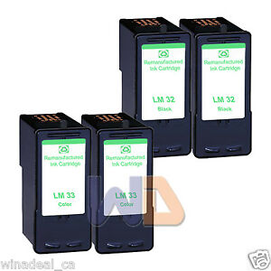 4-PK-Lexmark-32-33-Ink-Cartridge-For-X3330-X5250-X5450-X3350-X5270-X5470-Printer