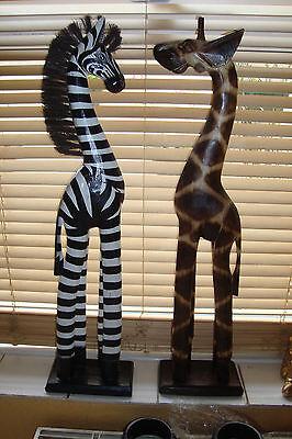 Beautiful Handcarved & Handpainted  Wooden 60cm  Zebra & Giraffe Pair~uk seller