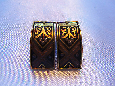 INCREDIBLE Statement Piece Vintage Goldtone DAMASCENE Style CLIP Earrings 14E047
