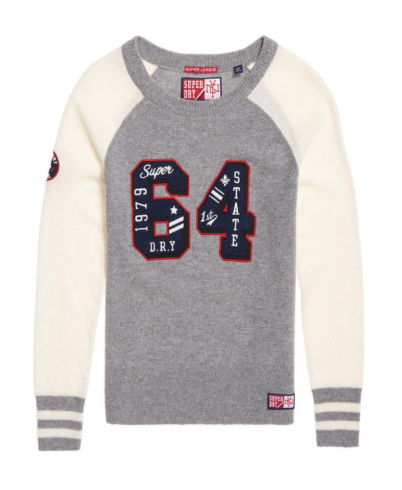 Superdry Damenschuhe Team SD Varsity knit jumper Grau Marl Weiß Sweatshirt