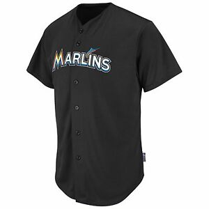 size 40 7bcdf e1f18 Details about Majestic Adult MLB Cool Base Pro Style Game Miami Marlins  Jersey, Black