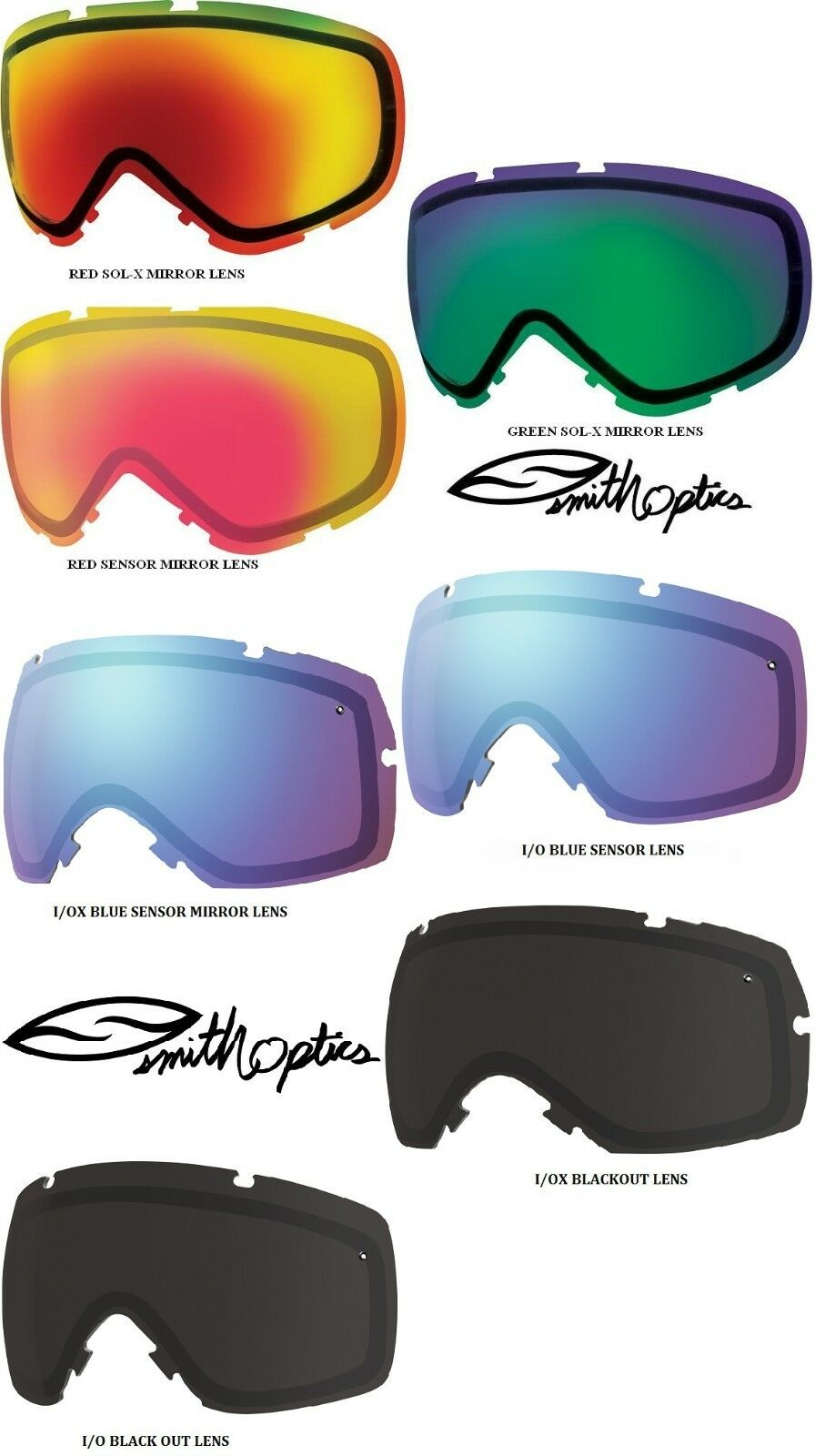 SMITH OPTICS REPLACEMENT LENS ONLY FOR I O AND I OX GOGGLES - NEW, Fits All