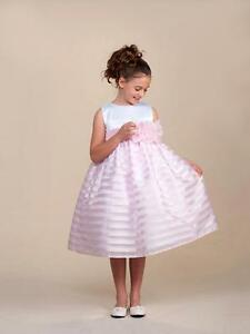 Stunning-Pink-Striped-White-Top-Flower-Girl-Party-Pageant-Dress-Crayon-Kids-USA