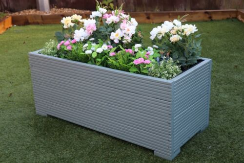 1 METRE LARGE WOODEN GARDEN PLANTER TROUGH PAINTED IN WILD THYME GREEN DECKING
