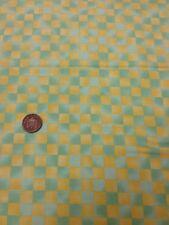 100% cotton quilting craft Fabric Green Yellow Check Graphix Paint Brush Studio